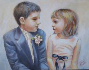 """Brother and sister talk"".32""x22"" SOLD"